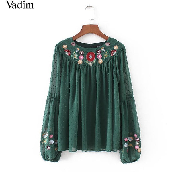 Green Floral Embroidery Shirt Blouse-Bohemian Brunch