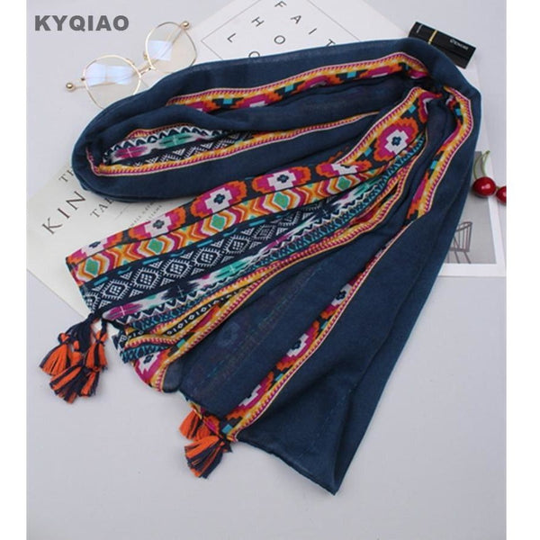 Hippie Boho Style Scarf Autumn or Spring Dark Blue Embroidery or Soft pink-Bohemian Brunch