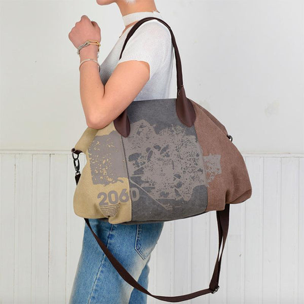 Hobo Shoulder Large Canvas Messenger Bag-Bohemian Brunch