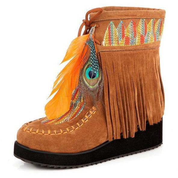 Indian Style Retro Fringe Boots PU Leather-Bohemian Brunch