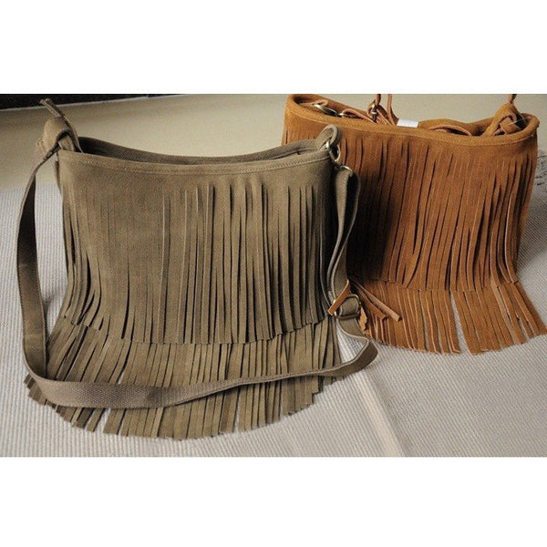 Leather Fringed Tassel Boho Messenger Bag-Bohemian Brunch