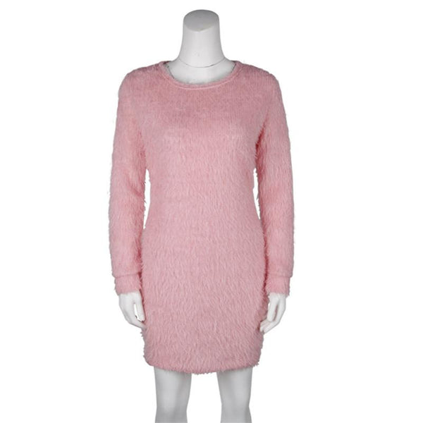 Mini Sweater Soft Plush Fashion Winter Dress-Bohemian Brunch