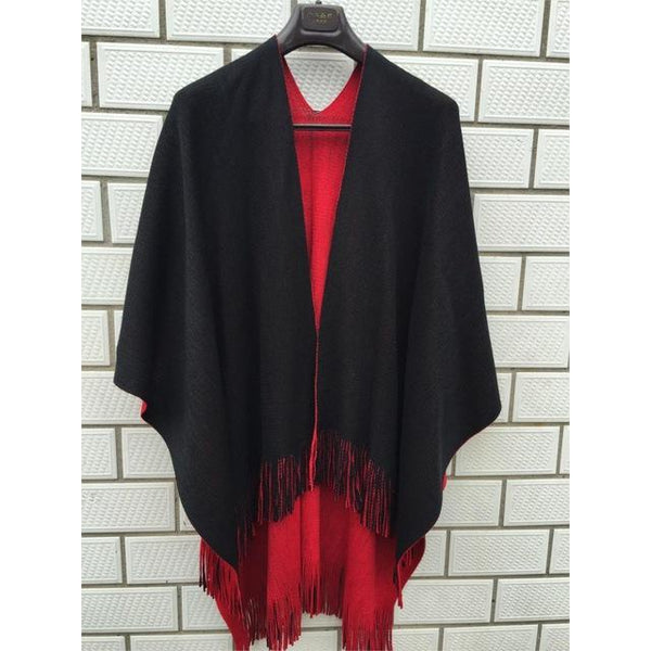 Oversized Reversible Women Winter Boho Knitted Cashmere Poncho Capes-Bohemian Brunch
