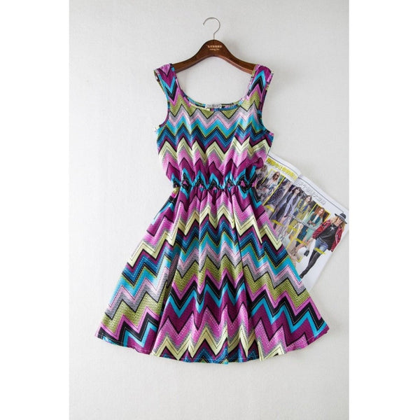 Printed ZigZag Hot Vintage Party Dresses-Bohemian Brunch