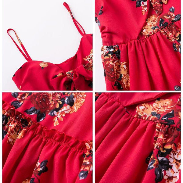 Red Print Floral Beach Boho Dress-Bohemian Brunch