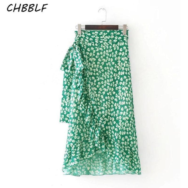 Spring Summer Wrap Green Floral Lady Chiffon Skirt-Bohemian Brunch
