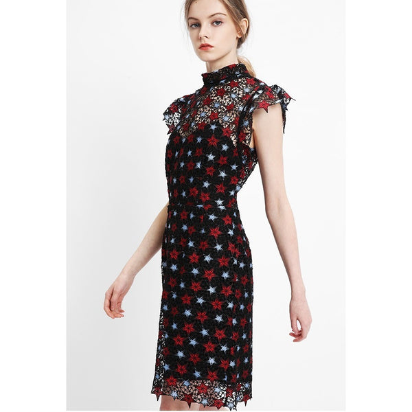 Stars Printed Lace Dress-Bohemian Brunch