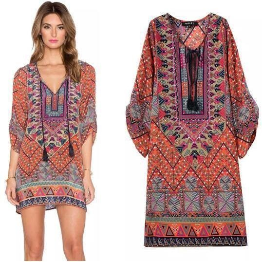 Summer Bohemia Mexican Boho Ethnic Loose Mini Kaftan Beach Dress-Bohemian Brunch