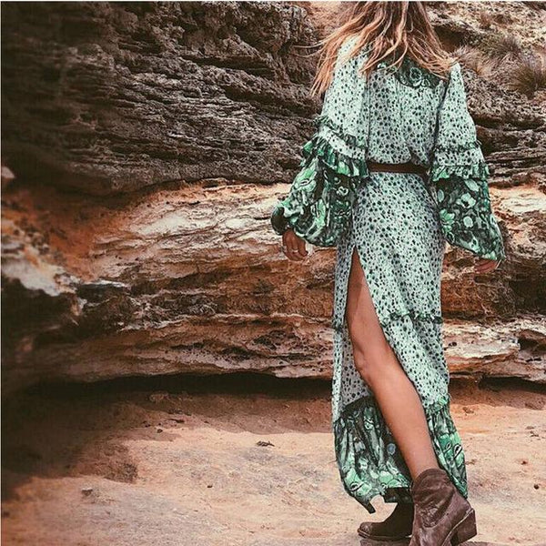 Summer Maxi Boho Green Print Vintage Style Dress-Bohemian Brunch