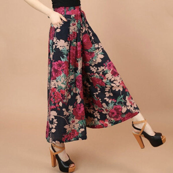 Summer Printed Flower Pattern Wide Leg Loose Linen Boho Pants Plus sizes-Bohemian Brunch