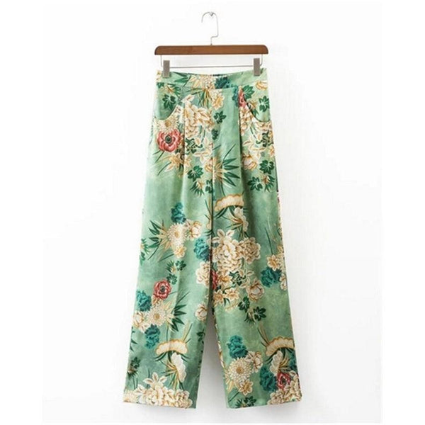 Vintage Floral Green Print Wide Leg Pants-Bohemian Brunch