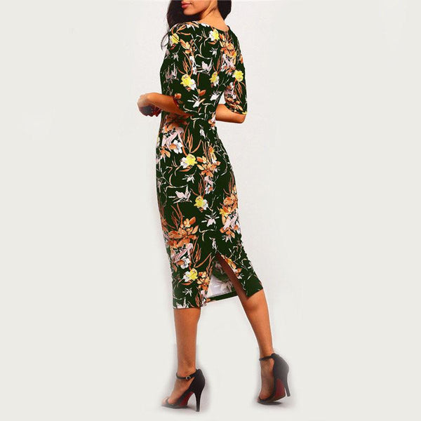Vintage Floral Print Short Sleeve Dress Women-Bohemian Brunch