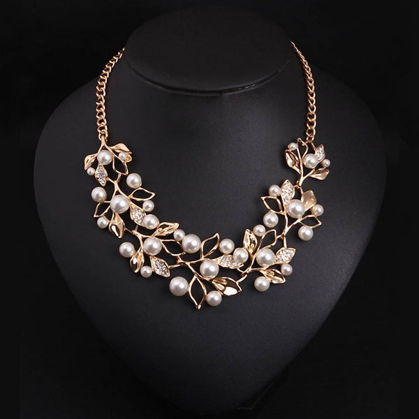 Vintage Pearl Gold Plated Leaves Statement Necklace BBJ-Bohemian Brunch