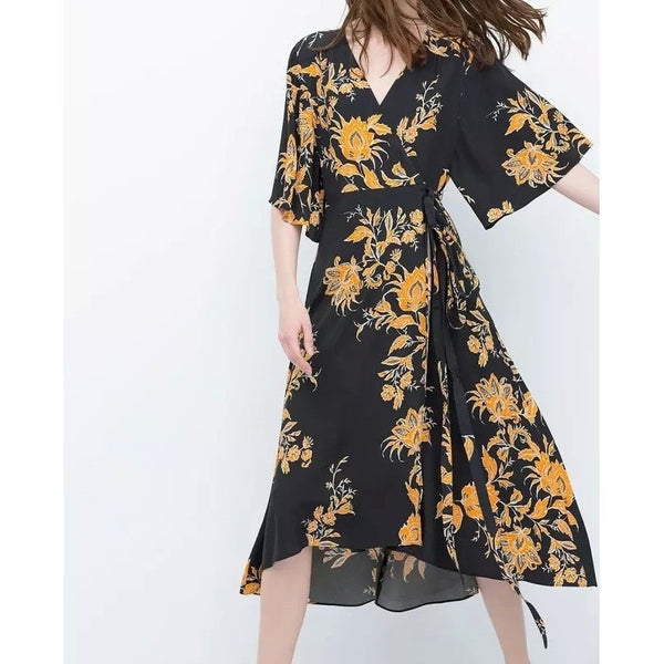 Vintage Print boho Wrap Dress Bella print-Bohemian Brunch