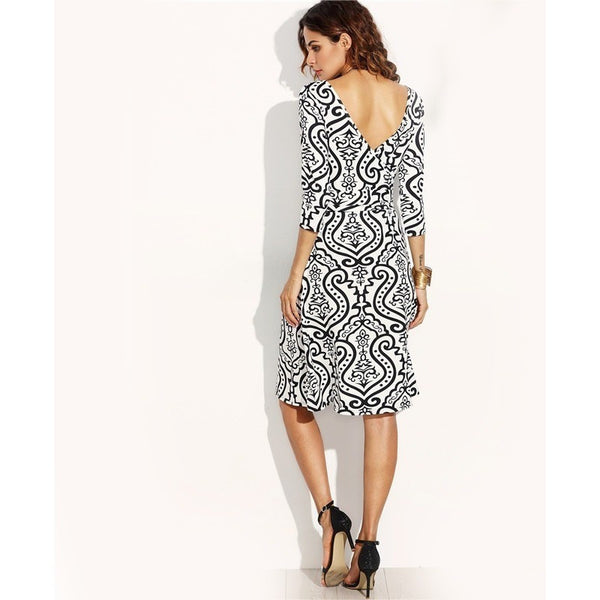 Vintage Print Wrap Dress A Line Knee Length Dress black and white prints-Bohemian Brunch