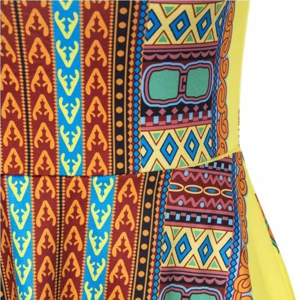 Vintage Tribal Print Yellow Summer Dress-Bohemian Brunch