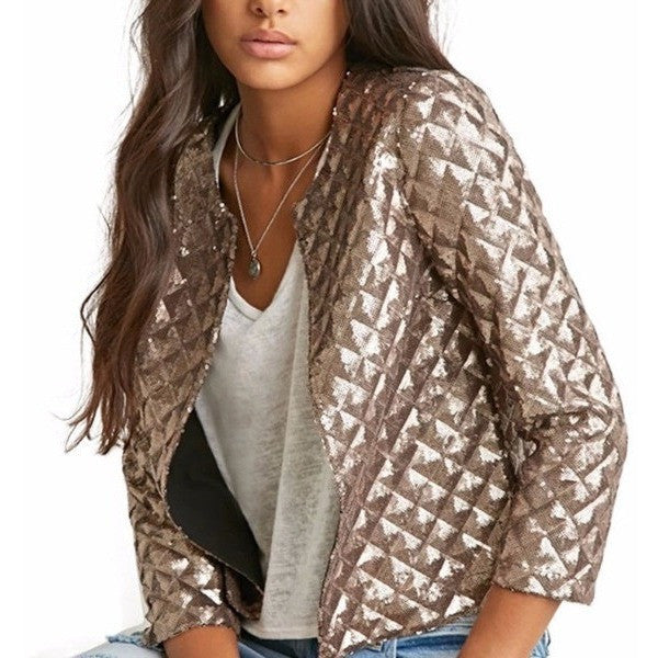 Vogue Gold Sequins Bling Jackets-Bohemian Brunch
