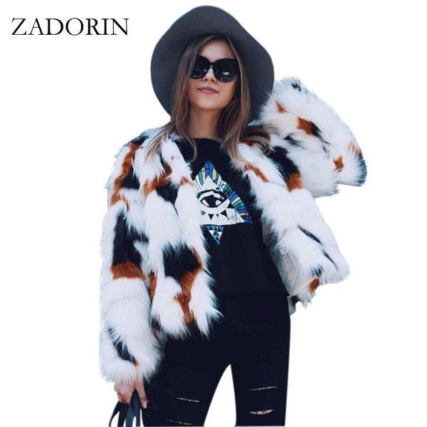 White Boho Faux Fur Coat Elegant Winter Jacket Hairy Overcoat-Bohemian Brunch