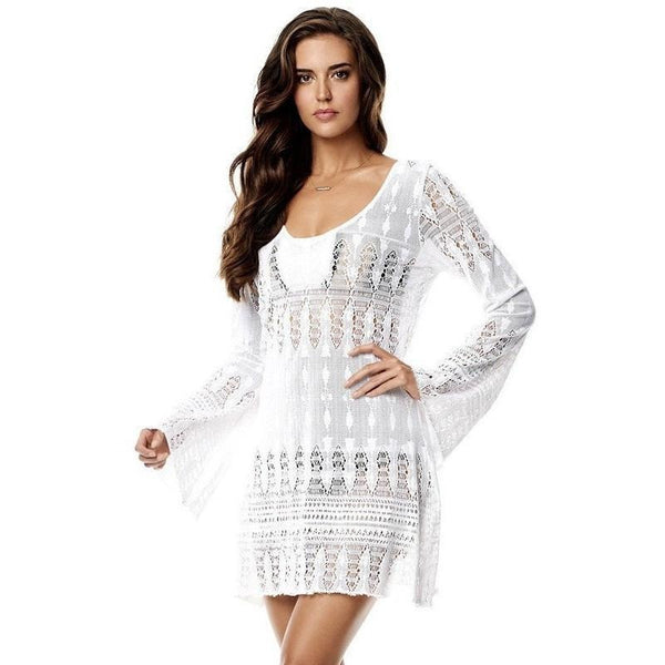 White Summer Beach Dress-Bohemian Brunch