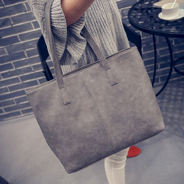 Winter Hobo Classic PU Leather Shopping HandBags Grey or Black-Bohemian Brunch