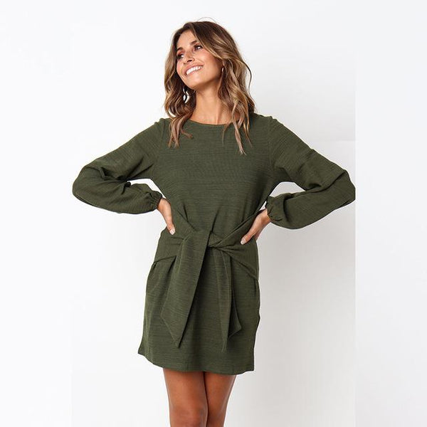Winter Loose Elegant Dress Long Sleeve O-Neck Dress With Belt-Bohemian Brunch