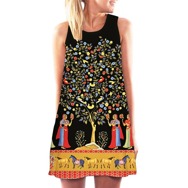 Women Dresses Plus Size European Summer Sexy Dress Women Vestidos Sleeveless Vintage Prints Casual A-Line Dresses-Bohemian Brunch