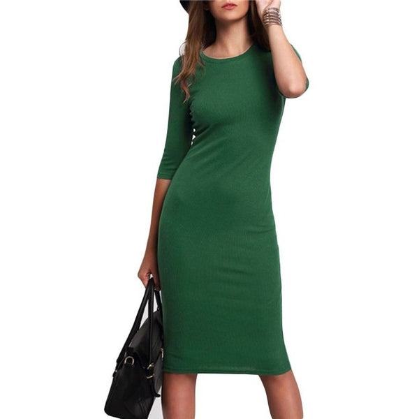 Work Summer Style Women Bodycon Dresses Sexy 2016 New Arrival Casual Green Crew Neck Half Sleeve Midi Dress-Bohemian Brunch