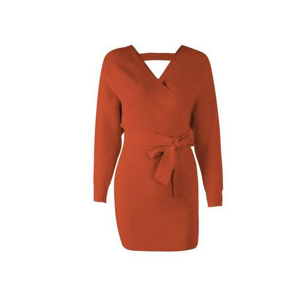 Wrap Mini Sweater Vintage Long Sleeve Dress-Bohemian Brunch