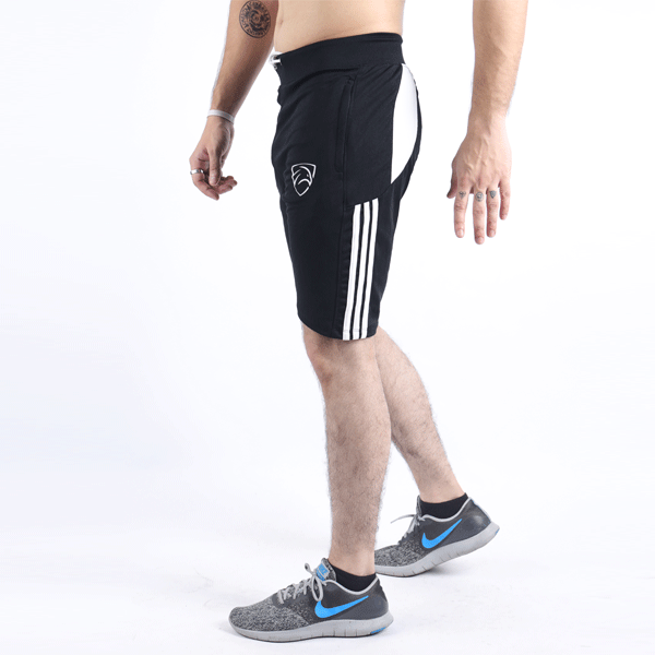 3 Stripes Black Quick Dry Shorts With White Mesh Panel