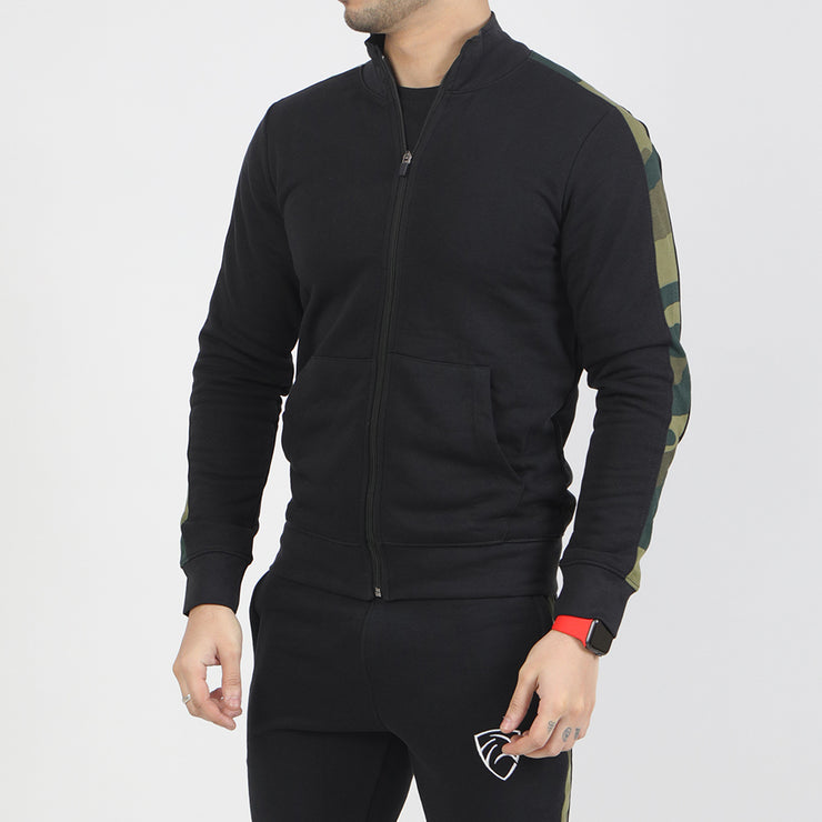 Black Terry Jacket With Camouflage Panels