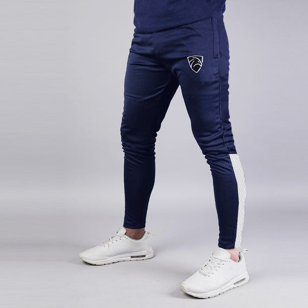 Navy Interlock Bottoms With White Bottom Panel
