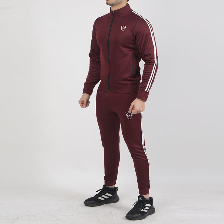 Maroon Poly Fleece Tracksuit With Two White Stripes