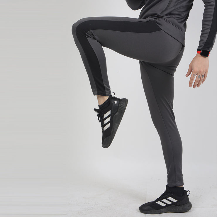 Charcoal Poly Fleece Bottoms With Black Panel