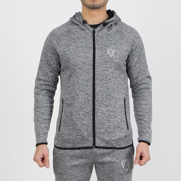 Texture Grey Poly Fleece Jacket