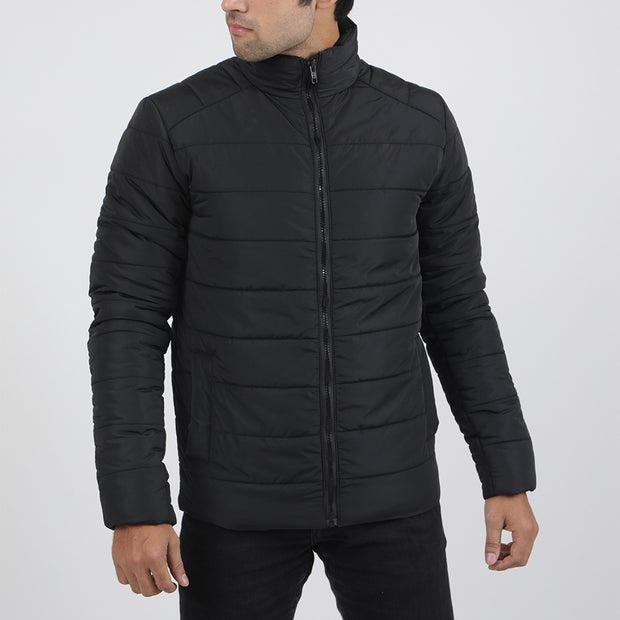 Black Premium Puffer Mock Neck Jacket