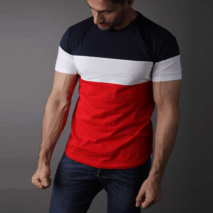Navy, White And Red Big Panel Tee - TeeFit Fashion