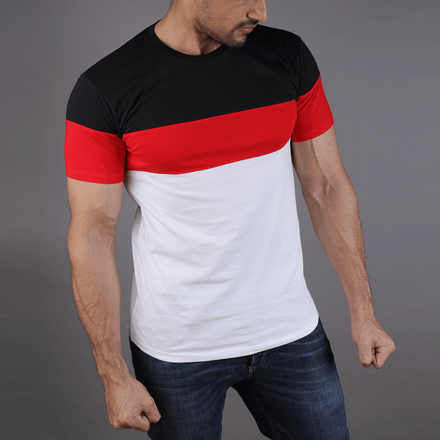 Black, Red, And White Big Panel Tee - TeeFit Fashion