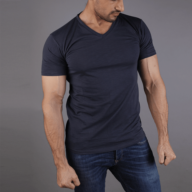 Tf-Navy Texture V-Neck Tee - TeeFit Fashion