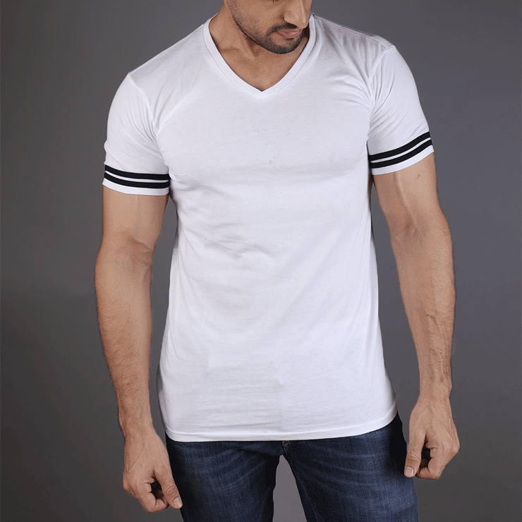 White V Neck Tee With 2 Black Stripes - TeeFit Fashion