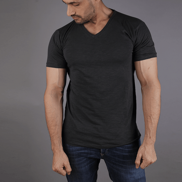Tf-Charcoal Texture V-Neck Tee - TeeFit Fashion