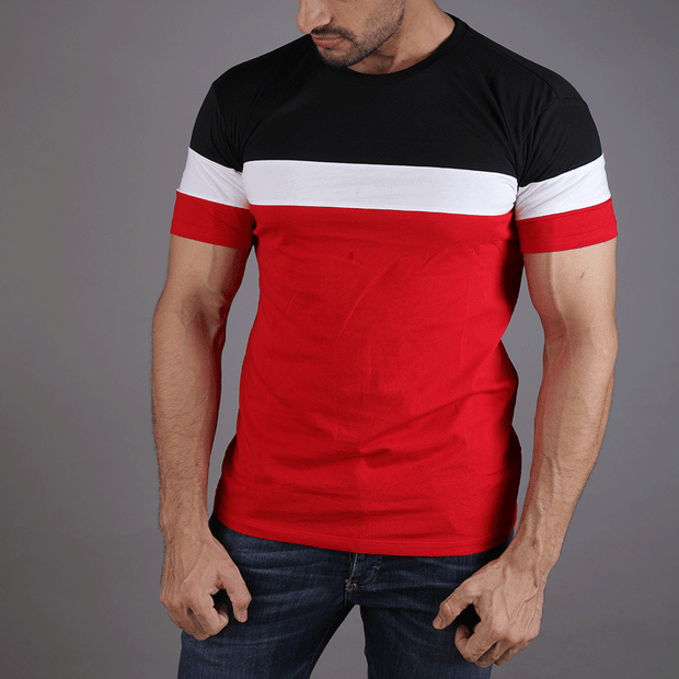 Black, White And Red Panel Tee - TeeFit Fashion