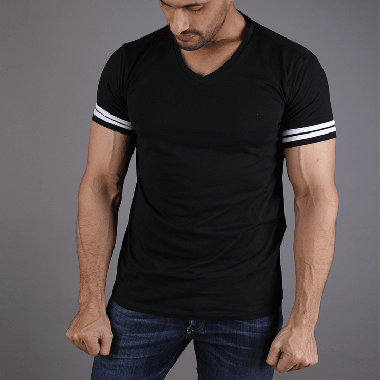 Black V Neck Tee With 2 White Stripes - TeeFit Fashion