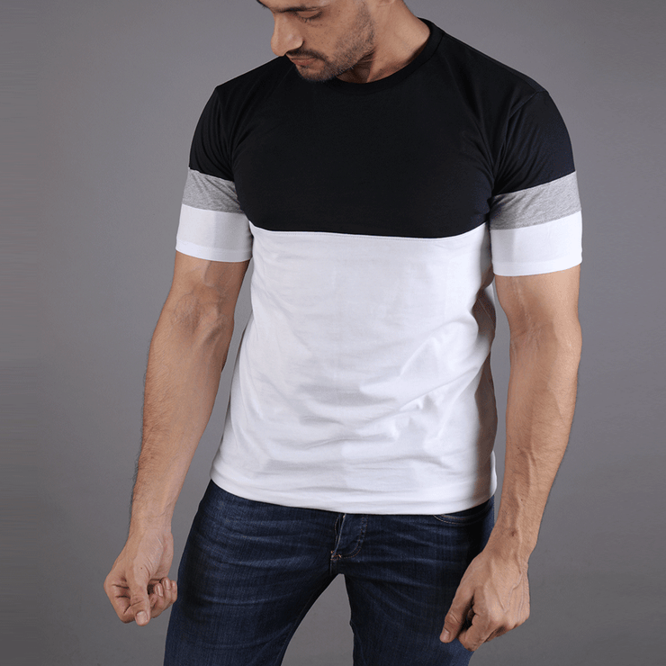 Black White Tee With Grey Arm Panel - TeeFit Fashion