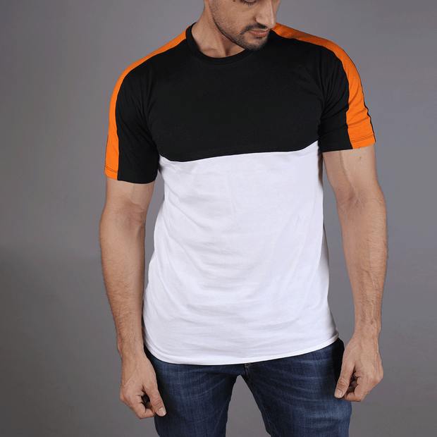 Black White Tee With Orange Shoulder Panel - TeeFit Fashion