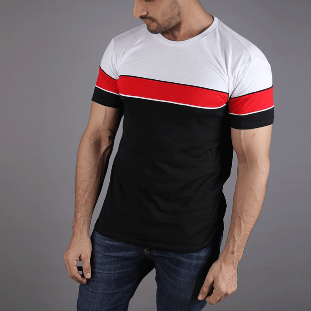 White, Red And Black Panel Tee With Piping Tee - TeeFit Fashion