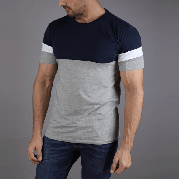 Navy Grey Panel Tee With White Arm Stripe - TeeFit Fashion