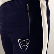 Tf-Tapered Navy With White Panels And Metal Zips - TeeFit Fashion