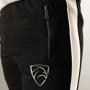 Tf-Tapered Black With White Panels And Metal Zips - TeeFit Fashion