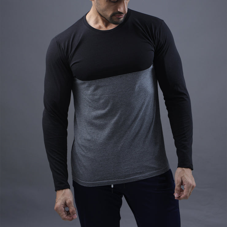 Black Charcoal Full Sleeve Two Tone Tee