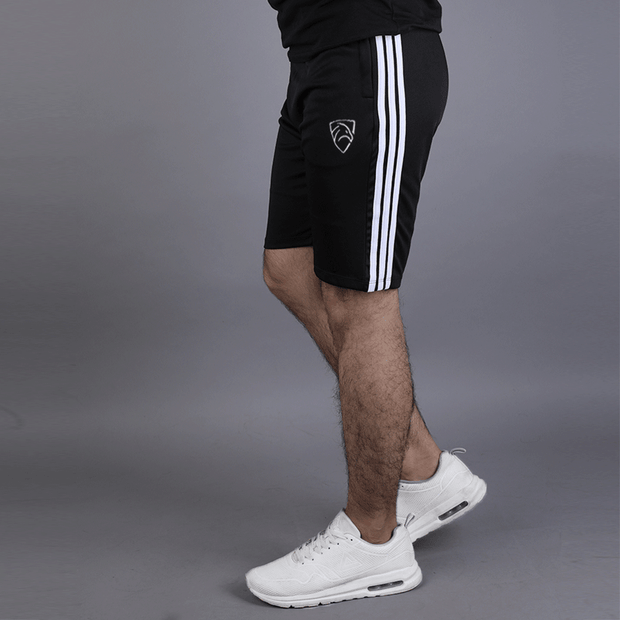 Black Hawk Series Shorts With Three White Stripes - TeeFit Fashion